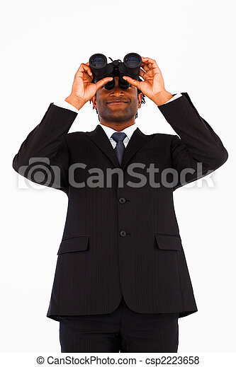 Friendly well-dressed businessman with binoculars - csp2223658