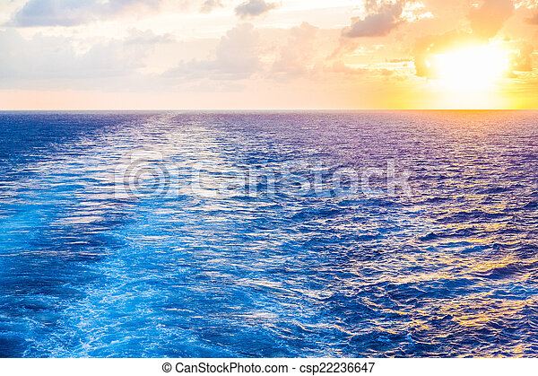 Sunset in Wake of Cruise Ship