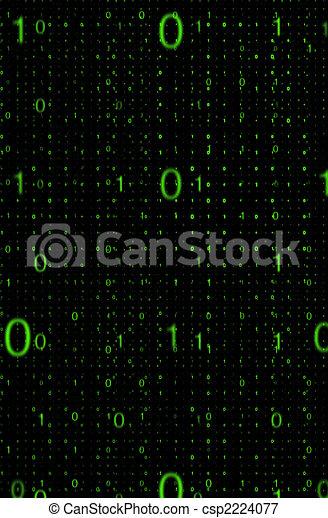 Digital code data transmission background on black - csp2224077