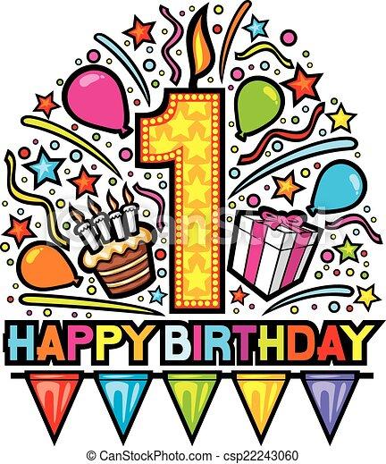 Clip Art Vector of happy first birthday design, happy birthday ...