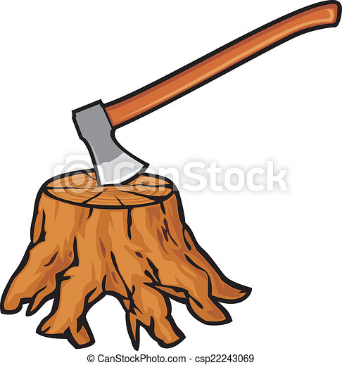 Clip Art Vector of old tree stump with roots and axe csp22243069 ...