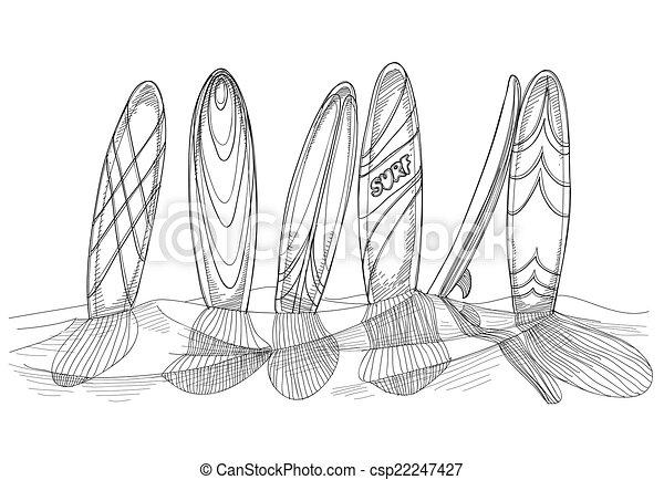 Ilustraciones de vectores de arena tablas de surf - Dibujos para tablas de surf ...