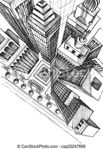 Comment dessiner une ville vue de haut - Comment dessiner un meuble en perspective ...