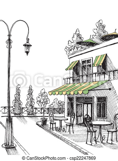 Clip Art Vector of Street view of a retro city restaurant ...