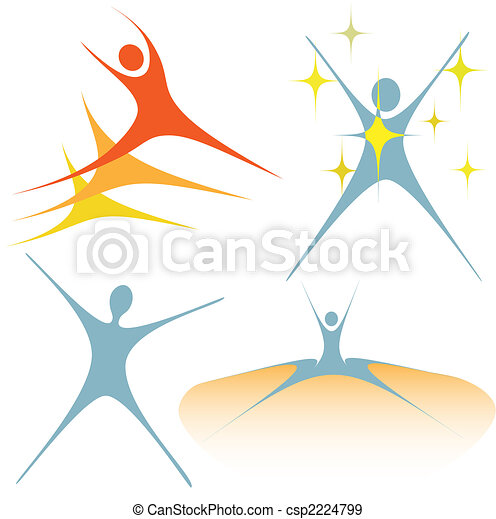 Enthusiastic swoosh people as set of symbols - csp2224799