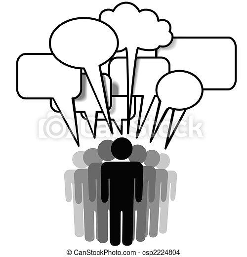 Social Network Media people group speak speech bubbles - csp2224804