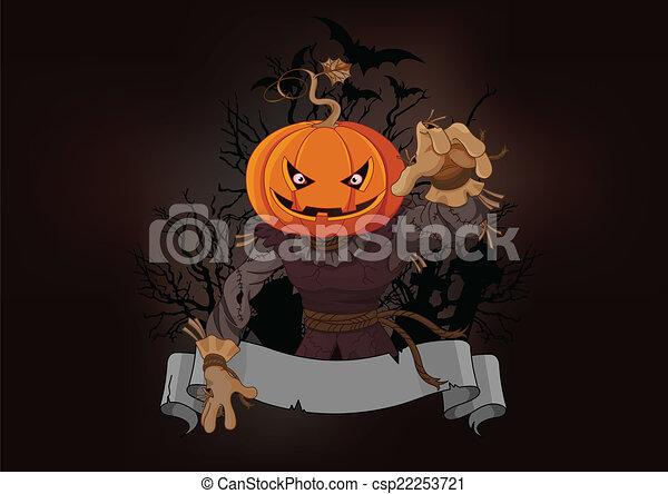 Pumpkin Head Drawing Scarecrow With a Pumpkin Head