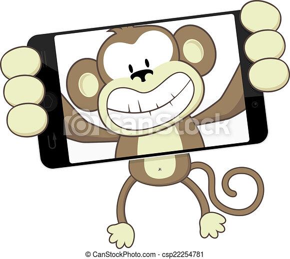 vector de selfie  mono divertido  mono  caricatura  el clip art self tapping screw clip art sellers