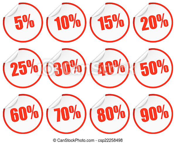 Discount Stickers - red - csp22258498