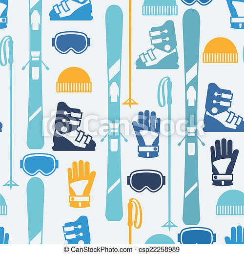 Sports seamless pattern with skiing equipment flat icons stock