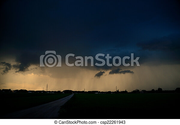 road with thunderstorm and rain