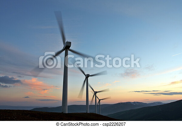 Wind turbine farm turning (movement sensation) - csp2226207