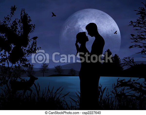 Night Romance Couple Romantic Couple at Night With