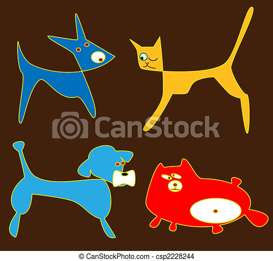 Cat and dog cliparts - csp2228244