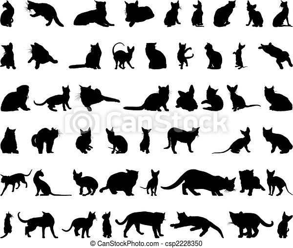cat silhouettes set - csp2228350