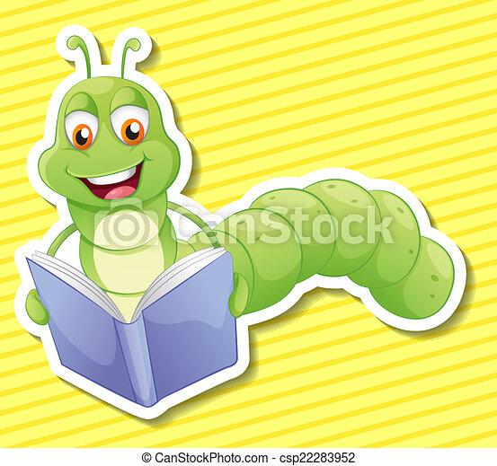 Bücherwurm clipart  Clipart Vektor von bücherwurm - Illustration, von, a, bücherwurm ...