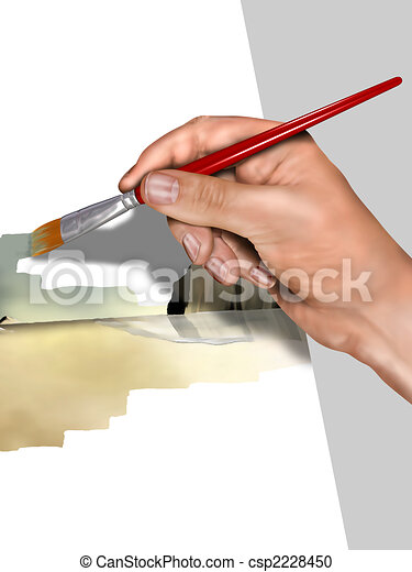 Artist painting a picture - csp2228450
