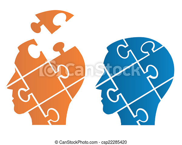 Puzzle heads symbolizing Psychology - csp22285420