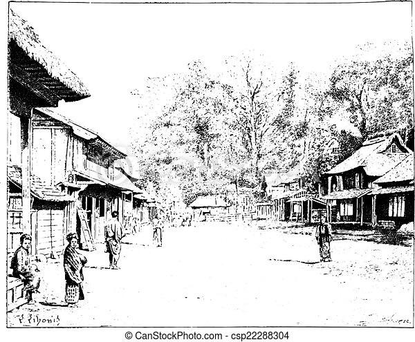 Street View Drawing a Street View of Yedo Japan