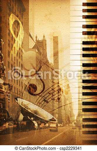 Clipart of Broadway - old historical new york background with ...