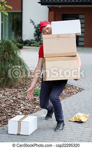 Delivery guy picking up parcels