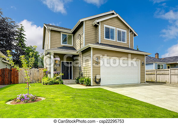 Stock images of two story house exterior with front yard for Help me landscape my front yard