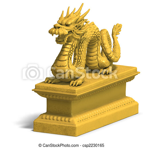 Chinese Golden Dragon Drawing Golden Chinese Dragon Statue