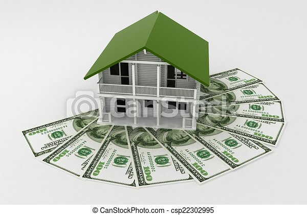 3d house on Pile of money. Conception of growth of mortgage credit - csp22302995