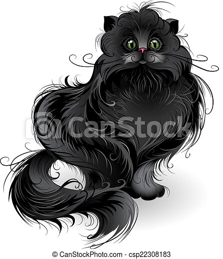 Vector of fluffy black cat - artistically painted , fluffy black ...