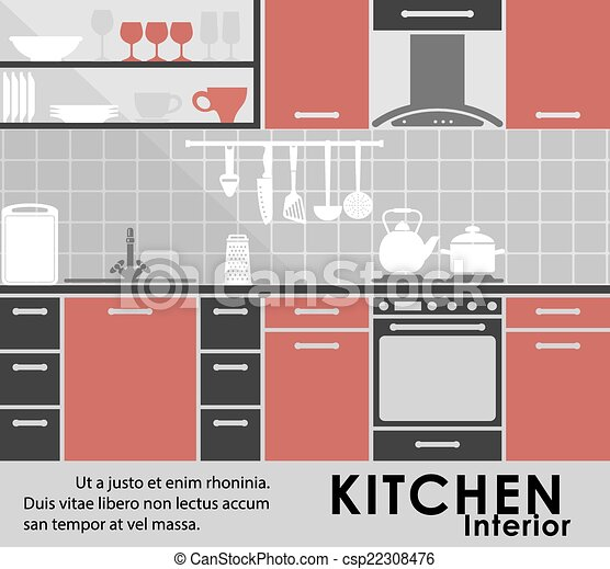 Modern kitchen interior in flat style - csp22308476