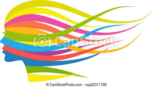 Multicolor hair woman, vector  - csp22311795