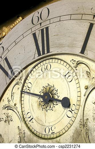 anticaglia, su, orologio, faccia, chiudere, nonno - csp2231274