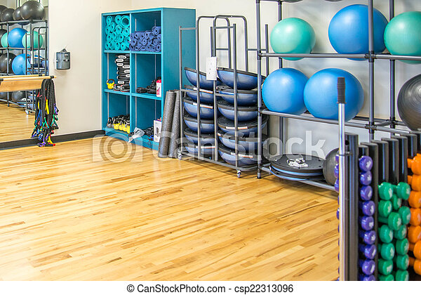 Group Exercise Room With Workout Equipment Picture