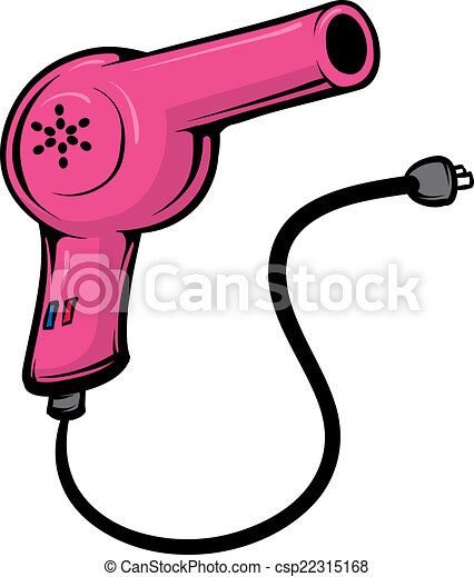 Clip Art Vector of Blowdryer - An Illustration of a pink ...