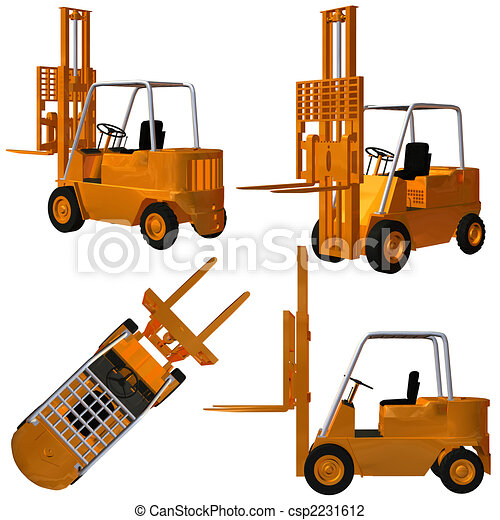 Clip Art of Forklift - 3D Render of an Forklift csp2231612 - Search ...: www.canstockphoto.com/forklift-2231612.html
