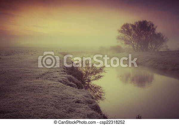 Foggy autumn morning on the river.  - csp22318252