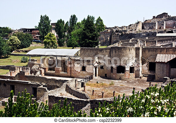 Ruins of Pompey after eruption of a volcano of Vesuvius - csp2232399