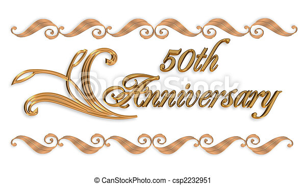 clipart von wedding, 50th, umrandungen, gold, einladung - 3d, Einladungen
