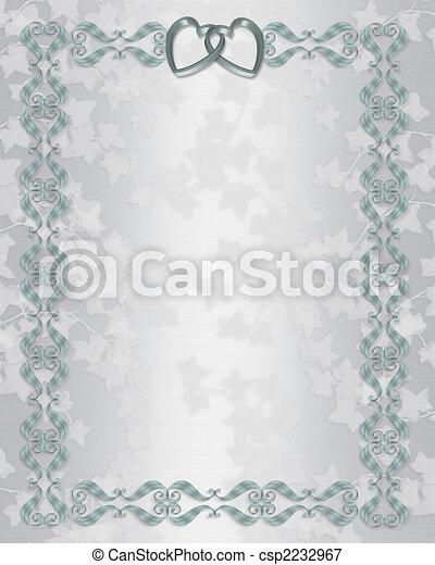 Stock Illustration Wedding invitation border silver blue