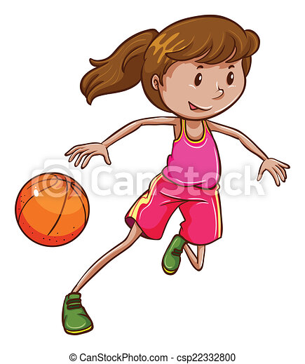 Vector Clipart Of A Simple Coloured Sketch Of A Girl Playing Basketball -... Csp22332800 ...