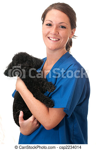 Veterinary Assistant with Pet Dog Isolated - csp2234014