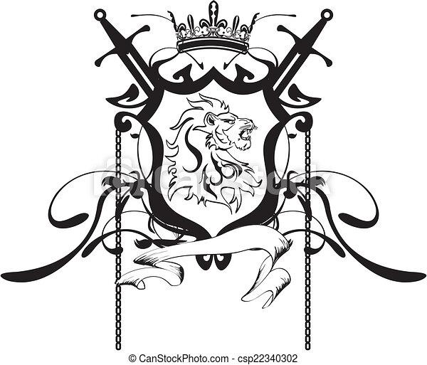 Vector Clipart of heraldic lion head crest tattoo5 - heraldic lion ...