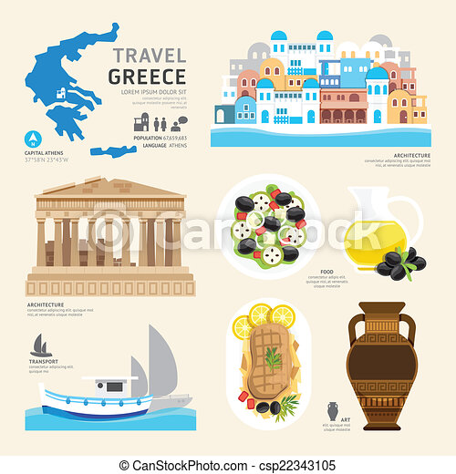 Travel Concept Greece Landmark Flat Icons Design .Vector Illustr - csp22343105