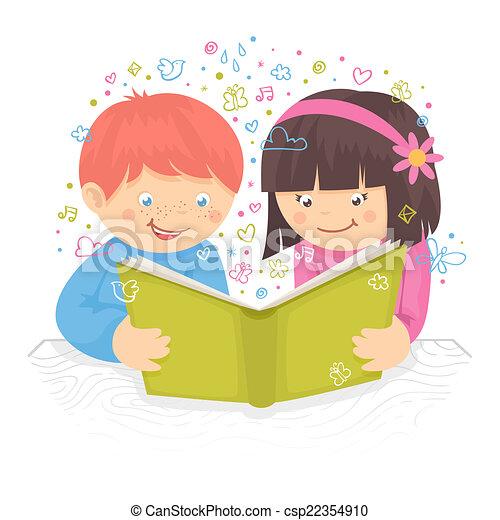 Kids Reading Vector Kids Reading Book