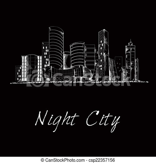 Clipart Vector of Night city skyline sketch - Modern city ...
