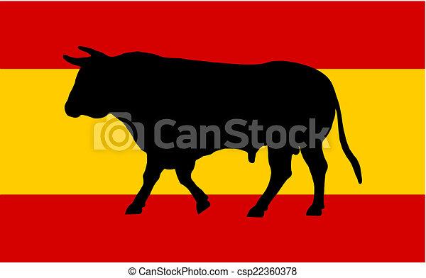 vector illustratie van vlag spaanse stier een spaanse