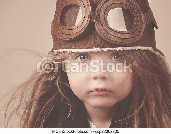 Little Pilot Girl with Hat - csp22362705