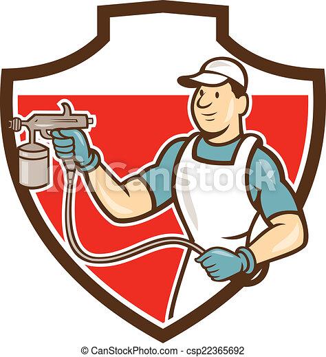 Spray Gun Drawing Painter Spray Gun Spraying