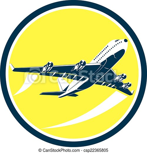 Vector Clipart of Commercial Jet Plane Airline Circle ...