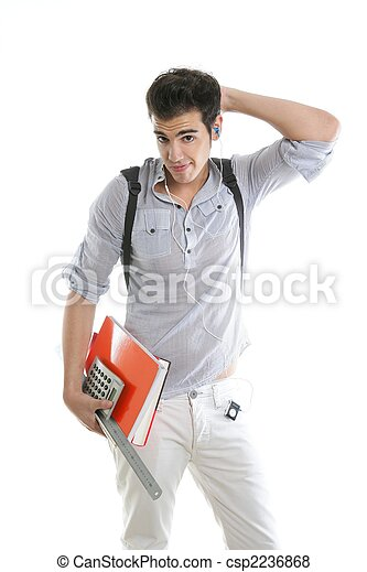 Caucasian student worried with negative gesture - csp2236868